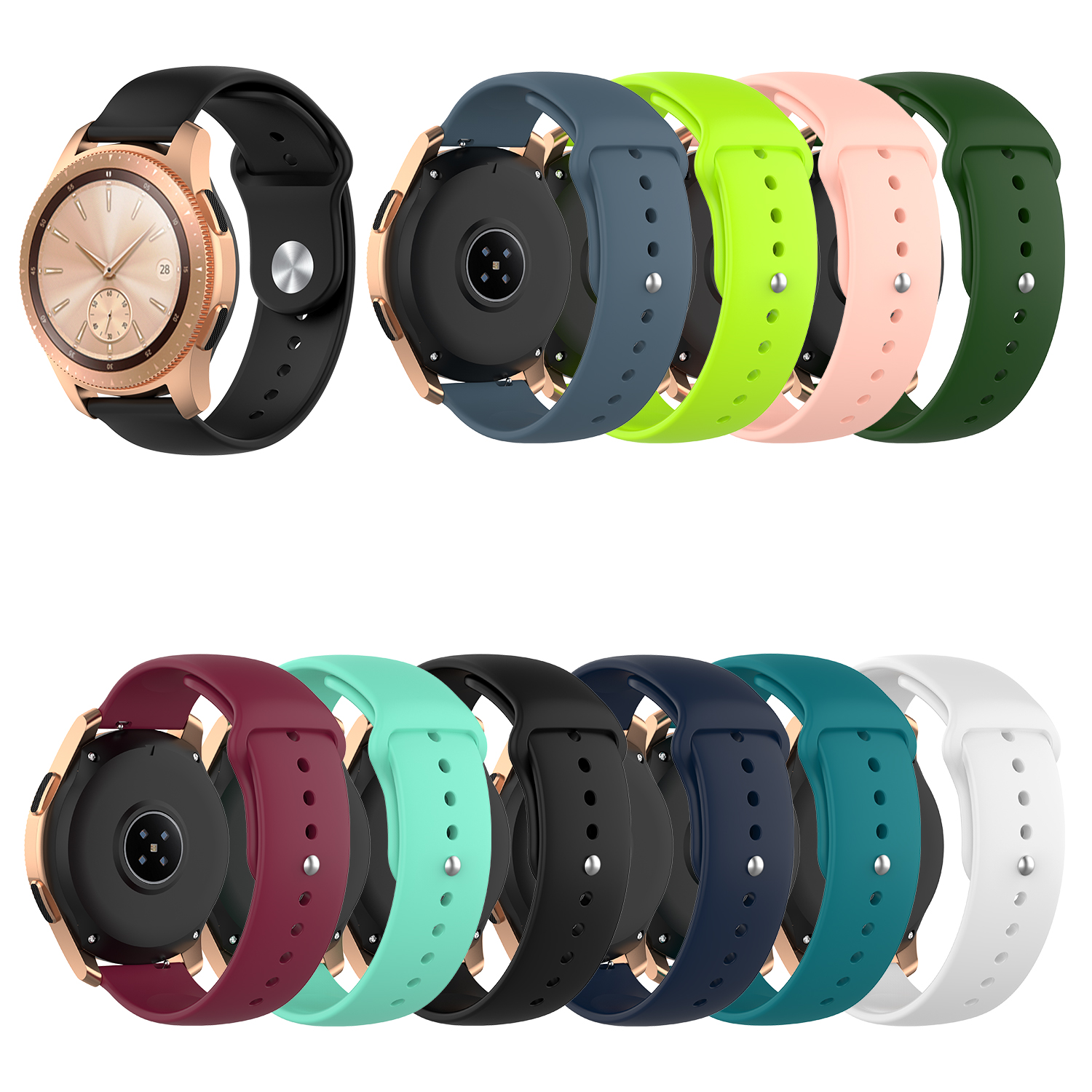 20mm Silicone Watchband For Samsung Galaxy Watch Active 42mm Gear S2 Sport Replacement Bracelet Band Strap For SM-R500 SM-R810