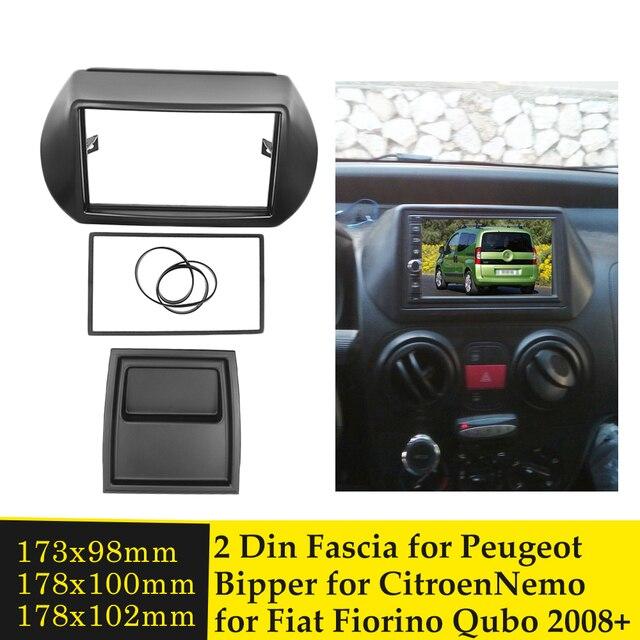 Doppel Din Auto Fascia Radio Panel für FIAT Fiorino Qubo für CITROEN Nemo für PEUGEOT Bipper 2008 + Adapter Facia gesicht Platte Lünette