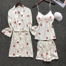 3Pieces Pajamas for Women Sexy Lingerie Fashion Silk homewear Sets Nightwear Pyjama Spaghetti Strap