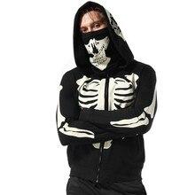 Autumn New Hoodies Mens Sweatshirt Skulls Zipper Hoodie Men Harajuku Streetwear Man Black Sweatshirts