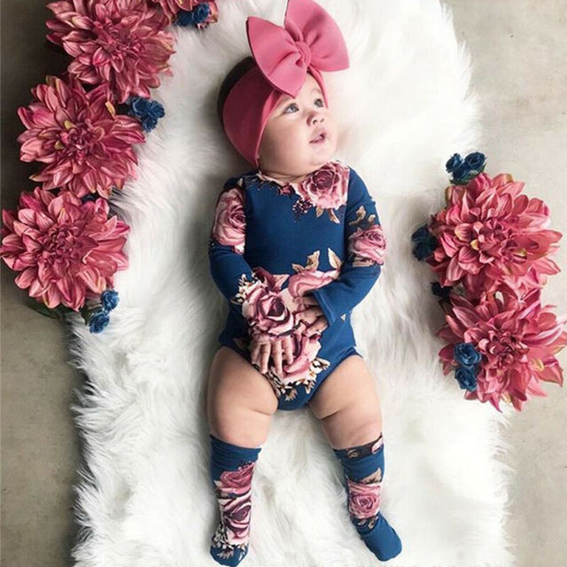0-24M Newborn Baby Girl 2019 New Autumn Long Sleeve Romper Large Floral Jumpsuit Warm Leg Socks Outfit 1