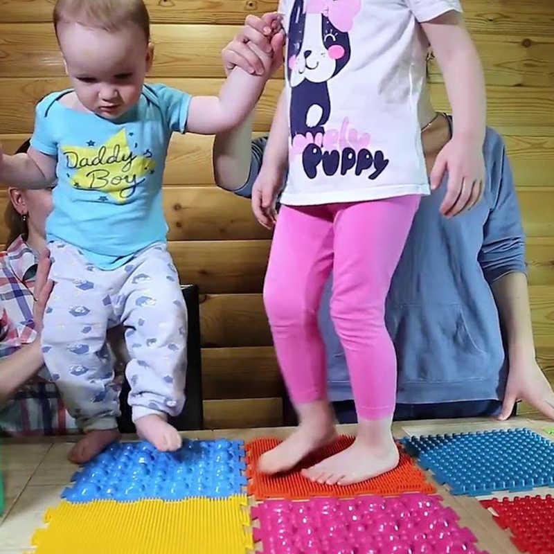 سجادة لتقويم العظام للأطفال سجادة أورثو بساط تعليمي بساط للريفلكسولوجي ودوران أقدام للأطفال مدلك للاسترخاء بالقدم