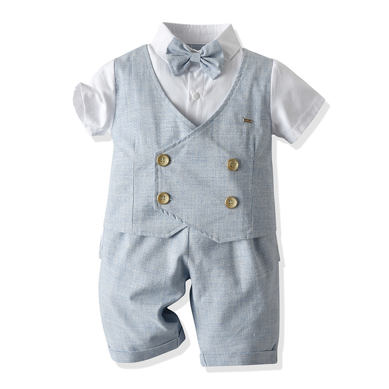 Toddler Baby Boy Clothes 1-5 Years Children Fake Two Bow Shirt With Shorts Outfit For Kids Birthday Party Summer Grey Costume