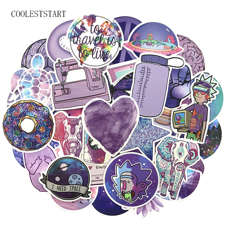 50Pcs/Pack Purple INS Graffiti Stickers Cartoon Stickers For Luggage Laptop Refrigerator Motorcycle Skateboard