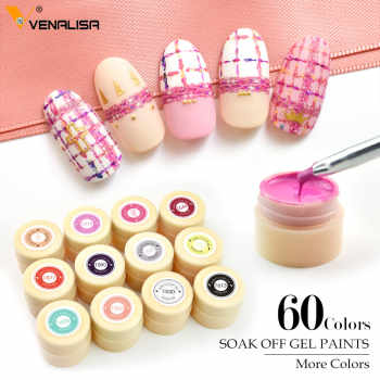 60 colors/set Nail Art Paint Gel CANNI Factory Pure Color DIY Decoration glitter powder Painting LED&UV color Gel