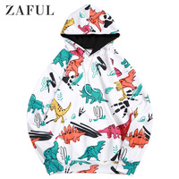 ZAFUL Cartoon Dinosaur Cactus Print Casual Pullover Hoodie For Men Long Sleeve Regular Length Tops Newest 2019