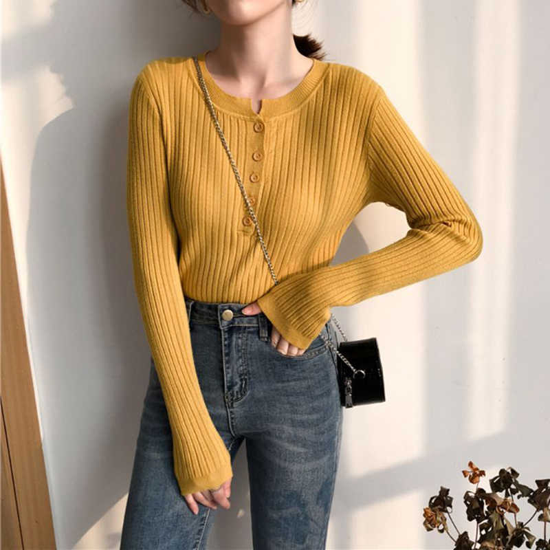 Women Basic Long Sleeve Sweater Half Buttons Front Crew Neck Pullover Tops Plain Solid Color Ribbed Knit Slim Jumper