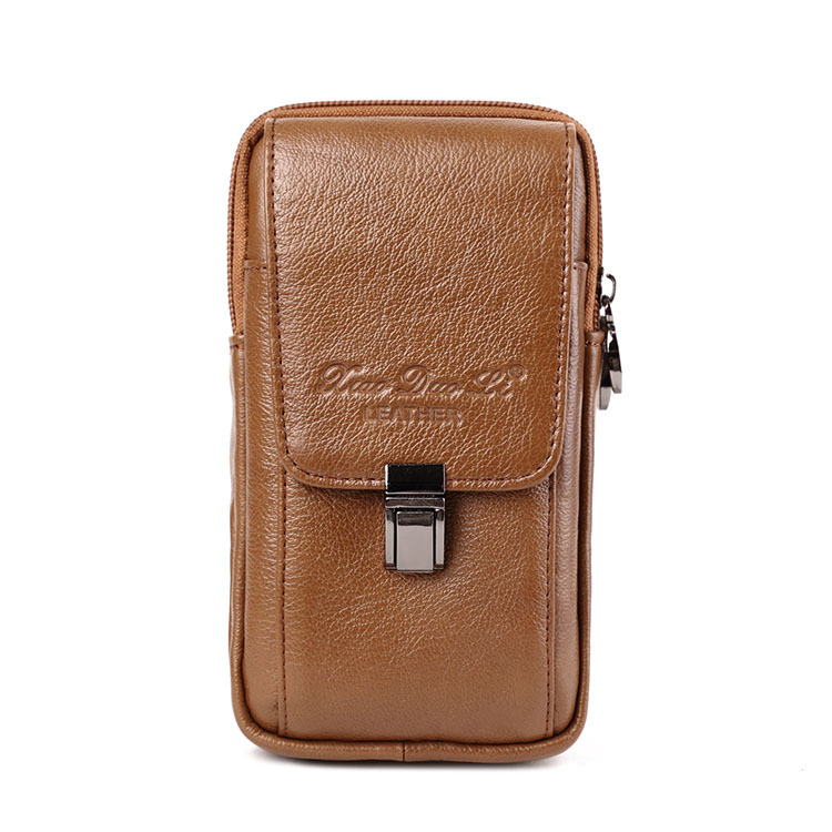 Men's Leather Running Bag 5.5/6-Inch Phone Bag Wear Leather Belt Retro Leather Mobile Phone Running Bag Small