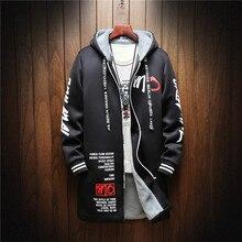Winter Slim Long Trench Coat Men Letter Print Style Hooded Overcoat Black Hip Hop Streetwear Autumn Korean Mens Jacket