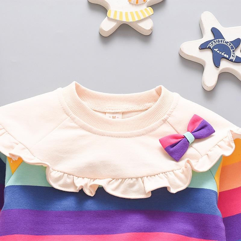 Spring Autumn Long Sleeve Baby Girl Clothes Cute Bowknot Rainbow Stripe Girls Sweatshirt Comfortable Cotton Pullover Kids Jacket 6