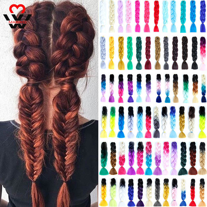 MANWEI Synthetic Braiding Hair Ombre Kanekalon 24 Inch 100g/Pack Blonde Grey Crochet Braids Hair Extensions Jumbo Braids