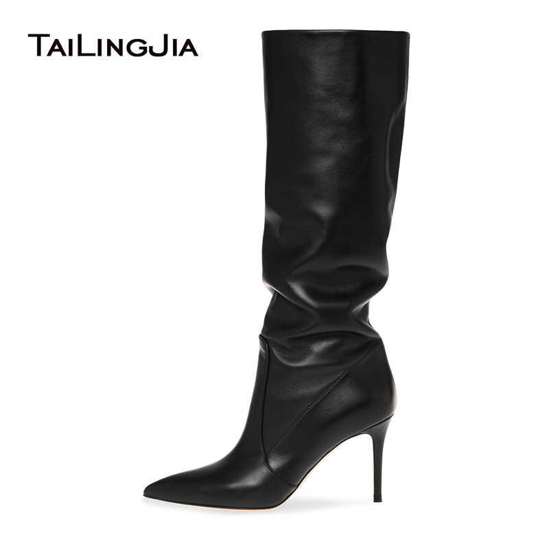 Botas Fashion Negras Largas Tacon Mujer Winter Autumn Slip