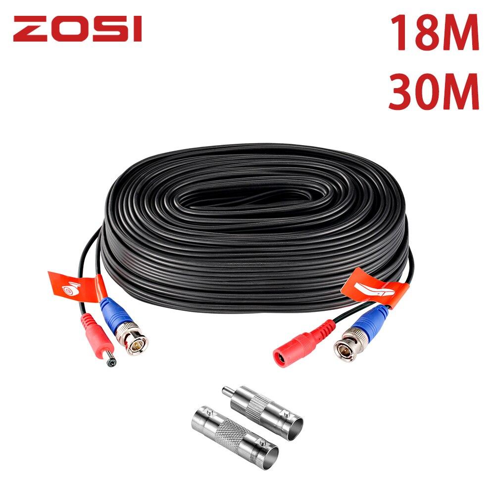 ZOSI 18,3 м 60ft CCTV кабель BNC + DC штекер кабель для CCTV камеры DVR безопасности черный системы наблюдения аксессуары