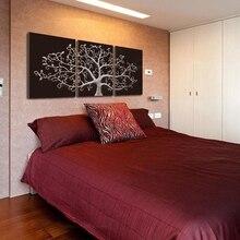 3 Панели современные черно-белые плакаты и принты абстрактная Модульная картина с изображением дерева холст живопись настенные картины для декора гостиной
