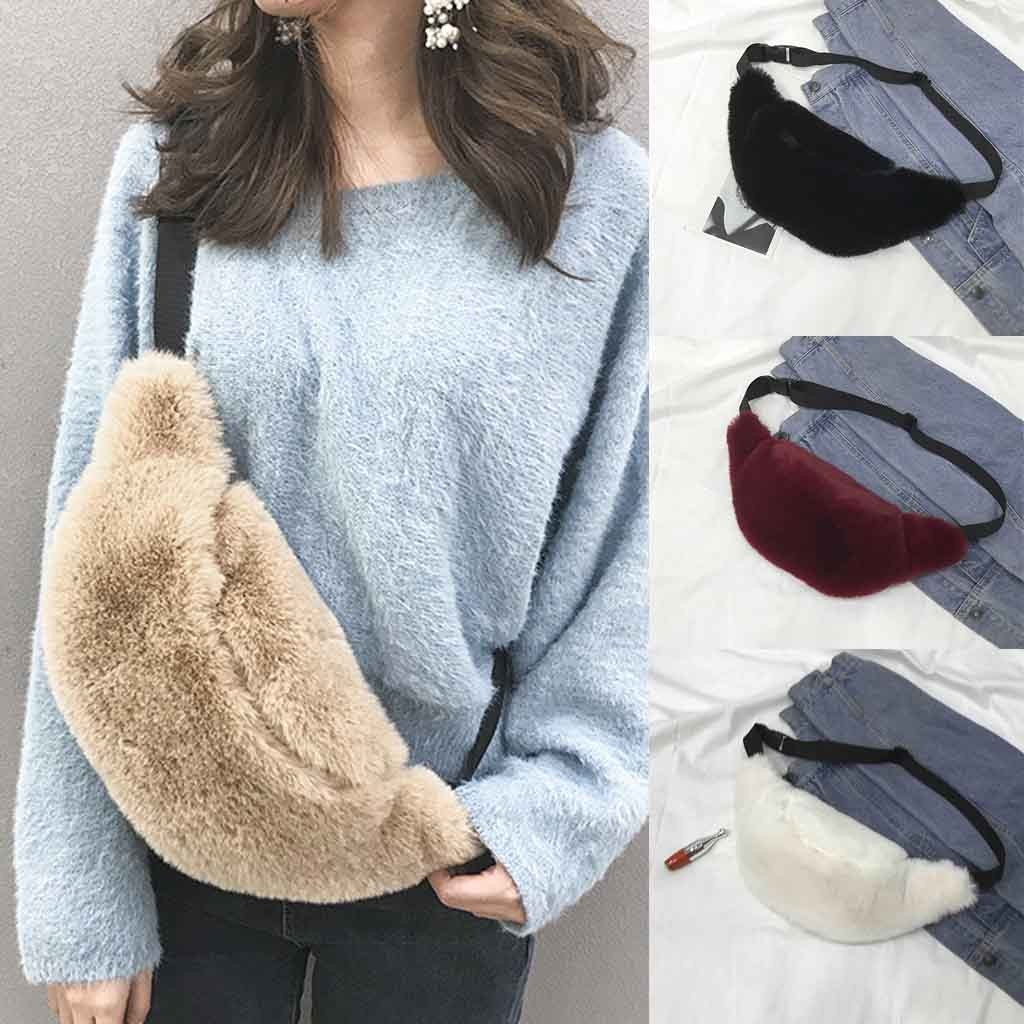 Female Belt New Brand Fashion Waist Bag Women's Plush Shoulder Messenger Bag Chest Bag Simple Trend Pockets Fanny Pack For Women