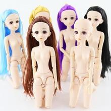 цена 36cm Bjd Doll 22 Movable Jointed Dolls Fashion 1/4 Baby Doll Nude  Change Makeup Doll 4D Eye Long Silk Hair Toys for Girls Toys в интернет-магазинах