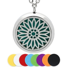 30MM Silver Aromatherapy Necklace Magnetic Sunflower Stainless Steel Perfume Essential Oil Diffuser Locket Pendant