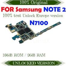 Carte mère 16 go originale débloquée pour Samsung Galaxy Note 2, circuit imprimé principal avec puces, système d'exploitation Android