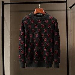 Новинка 2019, осенне-зимний свитер для мужчин, пуловер kanji с буквой F, вязаный свитер, мужской повседневный Модный Топ высокого качества