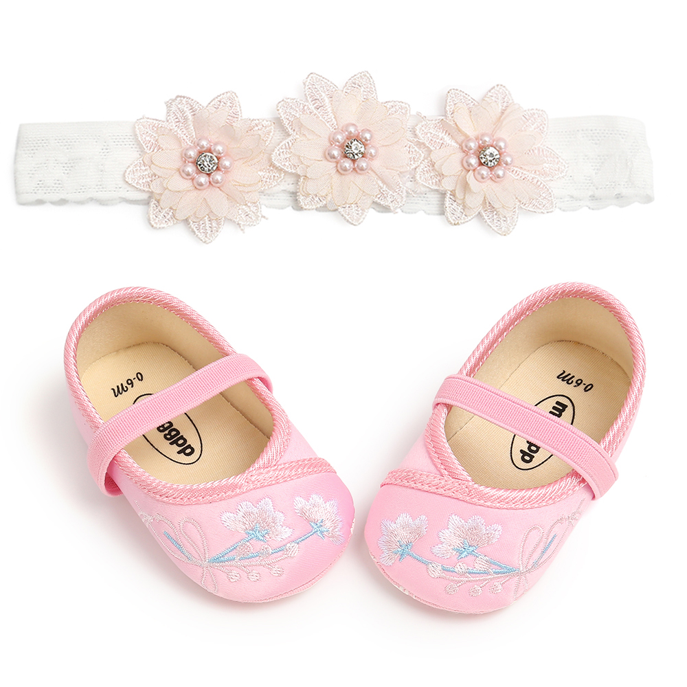2PCS Baby Girl Shoes Embroidery Floral Pattern Baby Girls Princess Shoes With Lace Flower Headwear Headband Shoes
