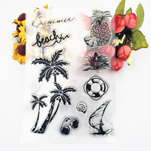 Clear Stamps Sketch Beach and Coconut Tree Decoration Rubber Silicone Scrapbooking for Card Making Diy Craft New Stamp