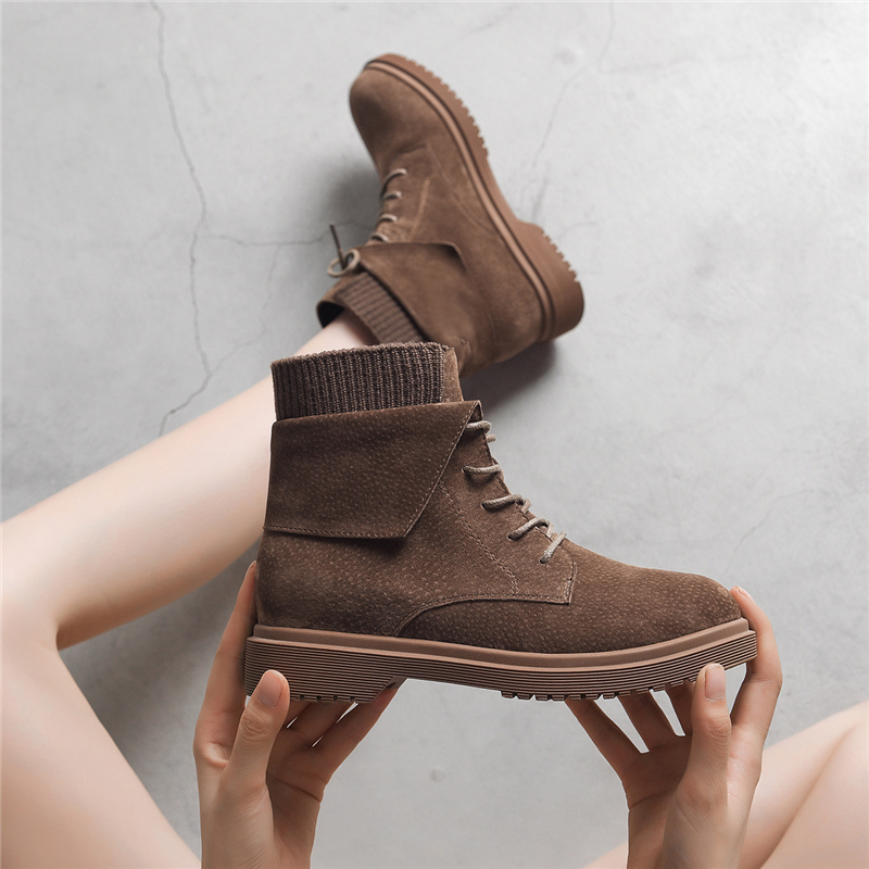 Women Brand Ankle Boots Genuine Leather Martin Boots Winter Snow Ladies Shoes 2019