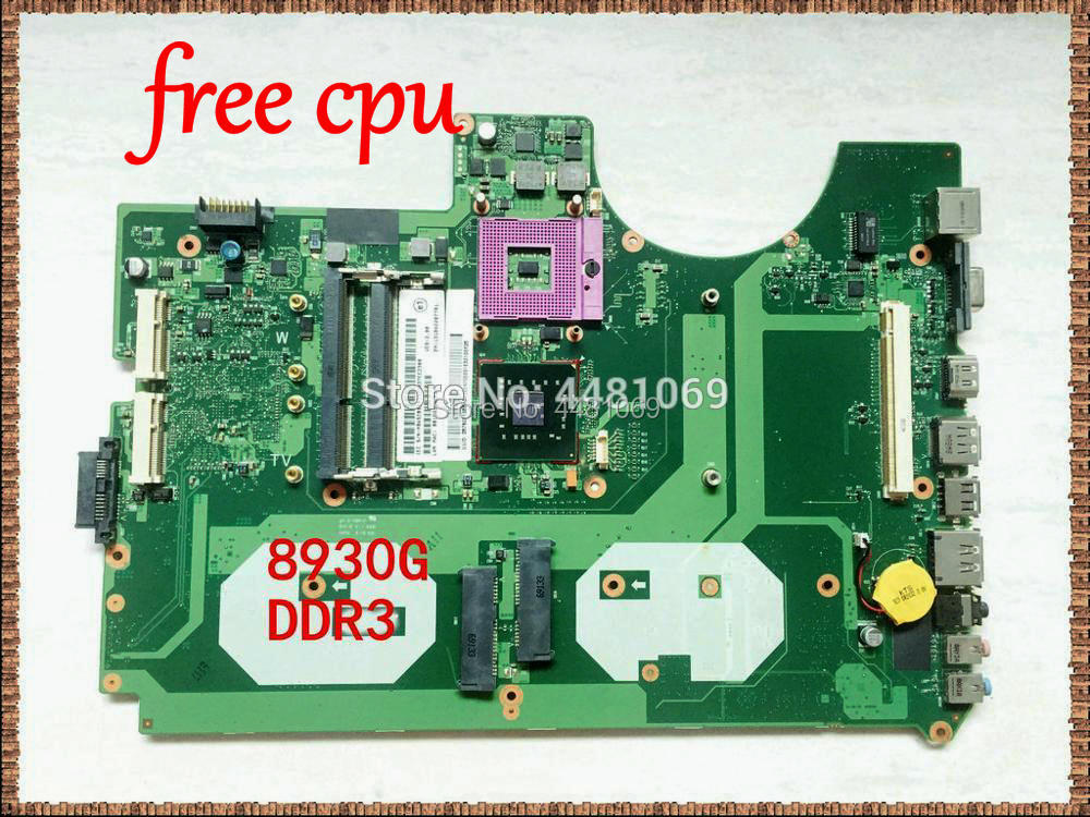 8930G Laptop 6050A2207701-MB-A02 MBASZ0B001 Laptop Motherboard For Acer Aspire 8930 8930G PM45 DDR3 Free Cpu With Graphics Slot