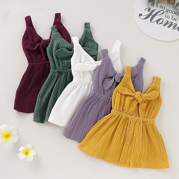 Newborn Baby Girl Dress Princess Sleeveless Clothes Bow Summer