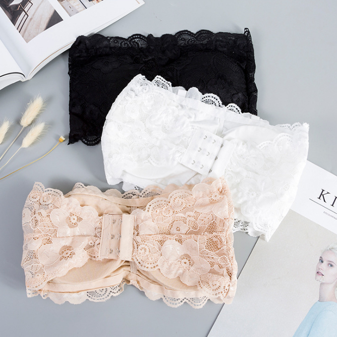 1Pc Sexy Women's Lace Floral Bralet Bra Bustier Back Closure Bandeau Crop Top Padded Bra Bralette Strapless Tube Top Lingerie