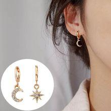 1 Pair of Earrings Classic Geometric for Women Asymmetric Star and Moon Earring Alloy Earrings Jewelry a suit of sweet asymmetric bar cross earrings for women