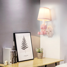 Modern girl cute bear wall lamp creative resin LED art deco light fixture for boy children bedroom bedside lamp study room e27