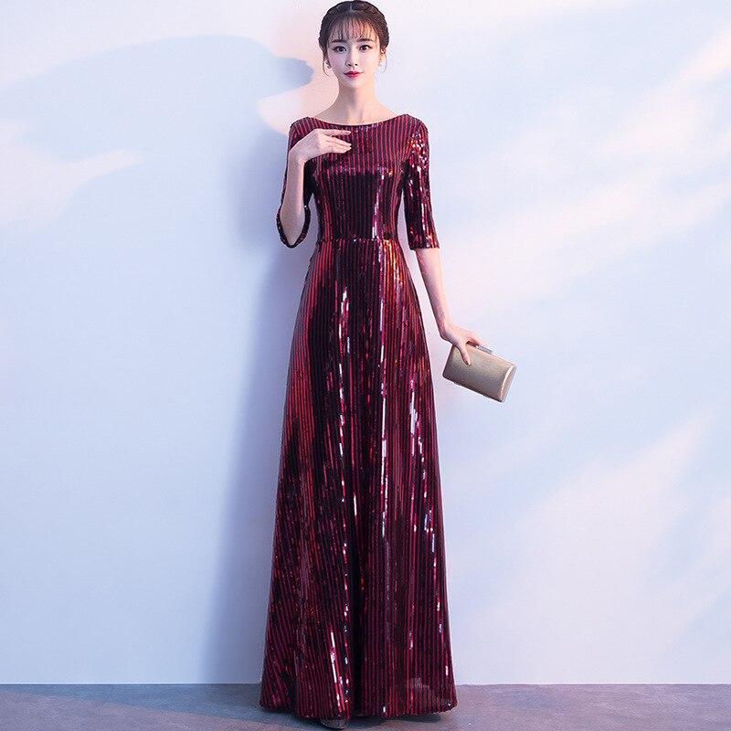 Burgundy V-neck Half Sleeve Ladies' Formal Party Dresses Bling Novelty Vestido De Festa Chinese Modern Qipao Dress With Zipper