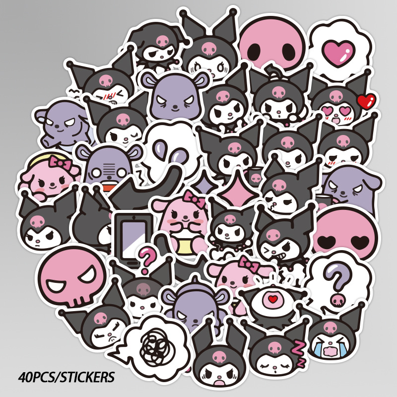 40PCS Kuromi Melody Keroppi Pekkle Gudetama Cute Stickers for Children Letter Diary Scrapbooking Stationery Pegatinas Stickers