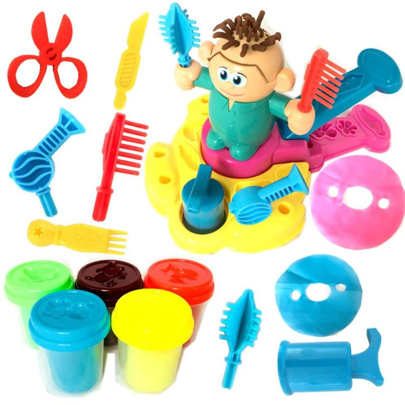 Children Model Clay 3D Barber Toy Set Plasticine Non-Toxic Mold Tool Suit  Eco-friendly Mud Modeling Clay Toy Gift For Intellige
