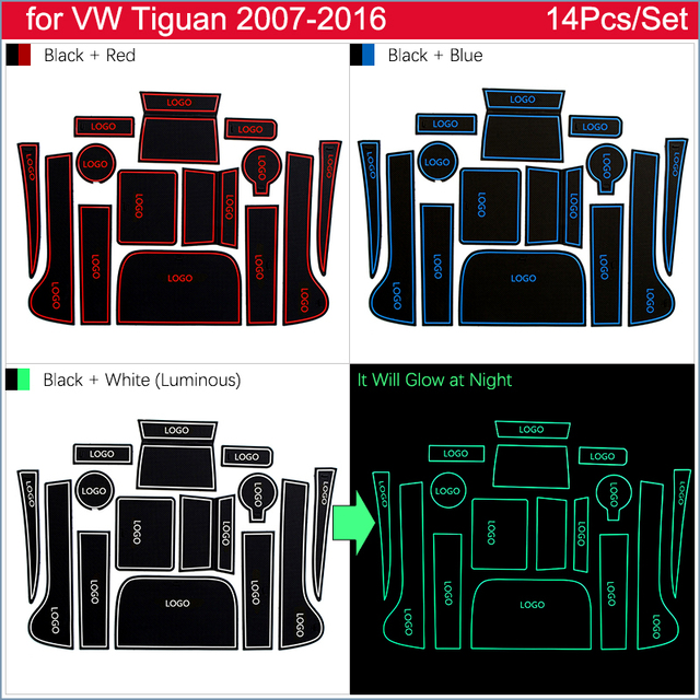 Anti-Slip Deur Rubber Cup Kussen Voor Vw Tiguan 2007 ~ 2016 Voor Volkswagen 2010 2013 2014 2015 Groef mat Auto Interieur Accessoires