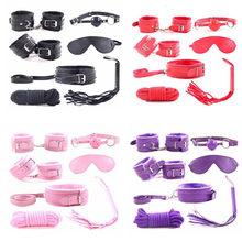 7 шт./компл. для женщин, набор из искусственной кожи SM для связывания, сексуальные наручники, наручники, кнут, веревка, маска для глаз, игрушки ...