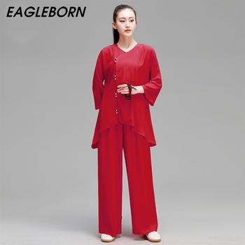 Nowa wiosna Tai Chi garnitur trąbka mankiety Tai Chi moda w stylu chińskim odzież Kung Fu garnitur tradycyjna chińska odzież dla kobiet tanie i dobre opinie EAGLEBORN Akrylowe COTTON CN (pochodzenie) Suknem YDFQ-00 WOMEN Tai Chi Clothing Cotton Muslin XS S M L XL Red green blue