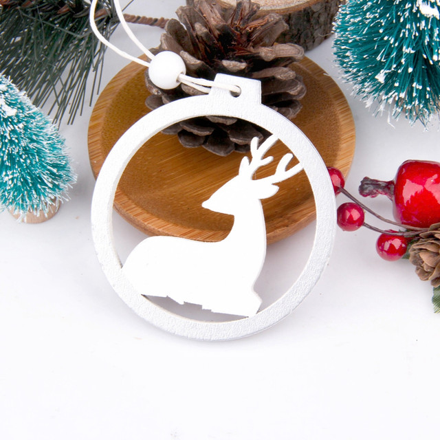 3PCS/lot Creative White Deer/Snowflake Wooden Pendants Christmas Tree Ornaments Decorations Xmas Wood Crafts Home Party Supplies 24