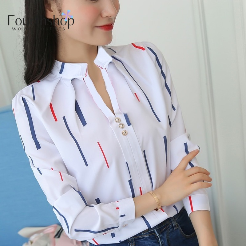 Women Fashion White Tops And Blouses Stripe Print Design Casual Long Sleeve Office Lady Work Formal Shirts Female Plus Size 2019