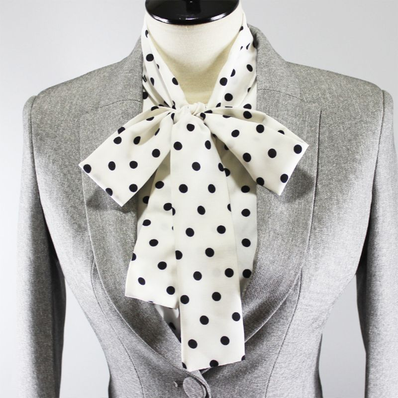 Womens Ribbon Bowknot Ruffles Stand Fake Collar Polka Dot Detachable Half-Shirt
