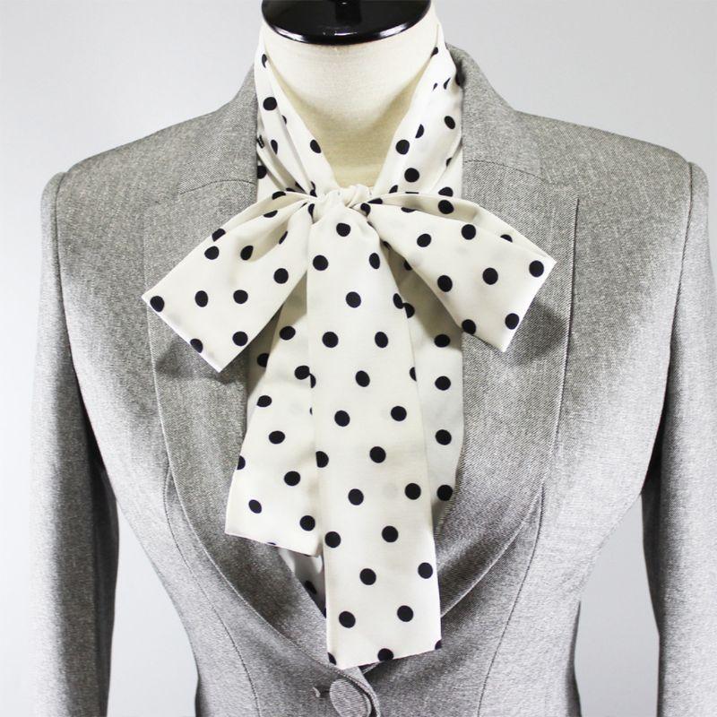 Womens Ribbon Bowknot Ruffles Stand Fake Collar Polka Dot Detachable Half-Shirt