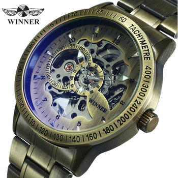 цена на WINNER Official Fashion Mens Watches Top Brand Luxury Military Watch Men Automatic Mechanical Metal Steel Skeleton Wristwatch