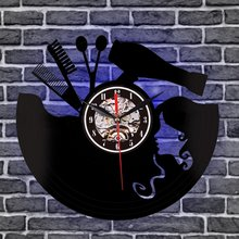 3D Retro Vinyl Record Wall Clock LED Haircut Girl Quartz Decorative Clock Home Decor Wall Art Clock For Living Room Bedroom(China)