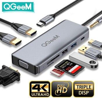QGeeM USB C Hub for Macbook Pro Air Dual HDMI VGA Micro SD Card Readers Aux PD OTG Multi USB Hub 3.0 Type C Adapter for Notebook cysm micro usb otg dual port hub