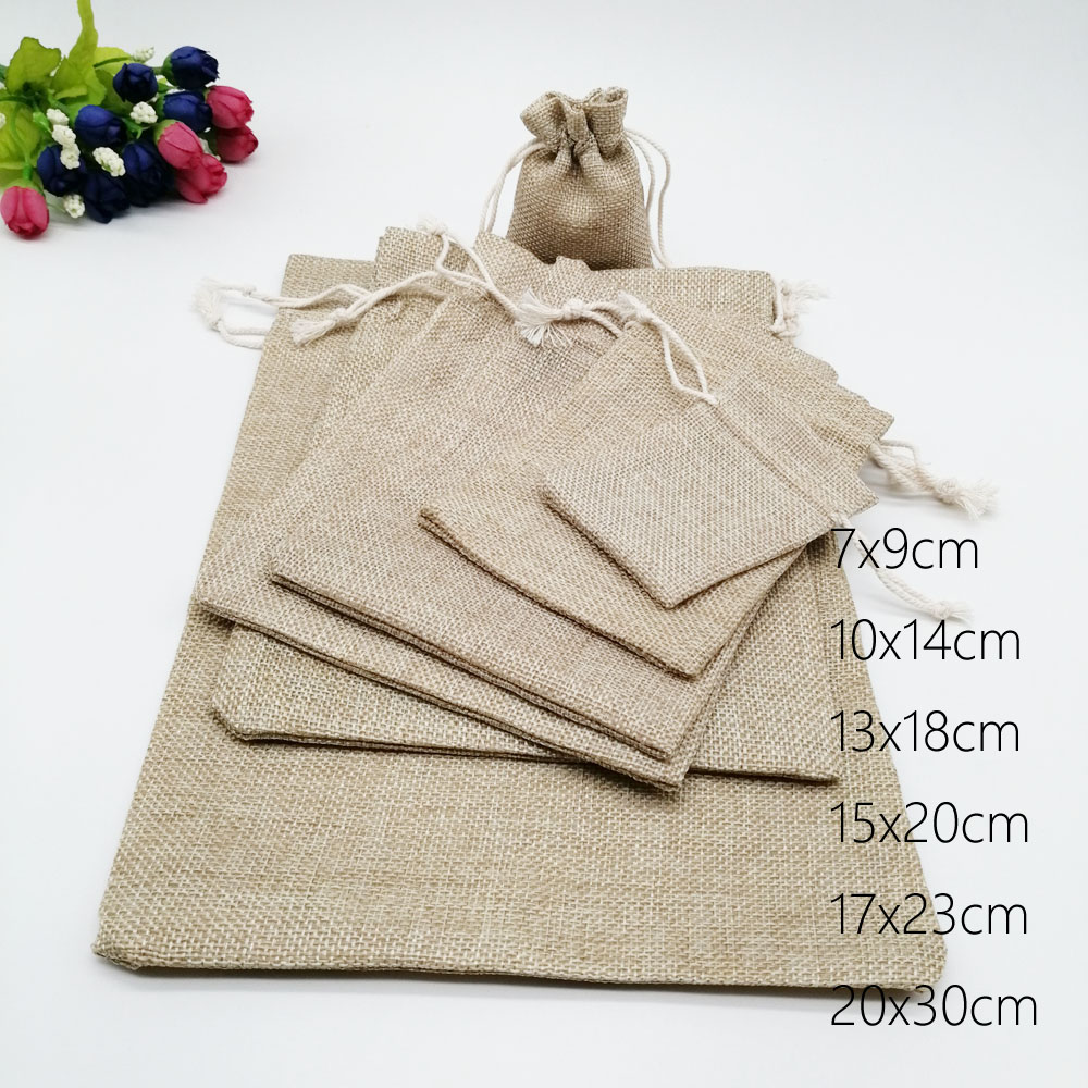 200pcs Jute Bags Gift Drawstring Pouch Gift Box Packaging Bags For Gift Linen Bags Jewelry Display Wedding Sack Burlap Bag Diy