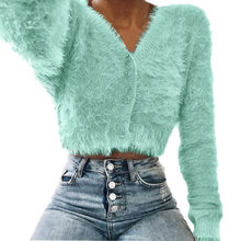 Women V-neck Long Sleeve Furry Casual Sweater Pullover Female Autumn Winter Knit Crochet Sweaters Women Cropped Pull Top #824(China)