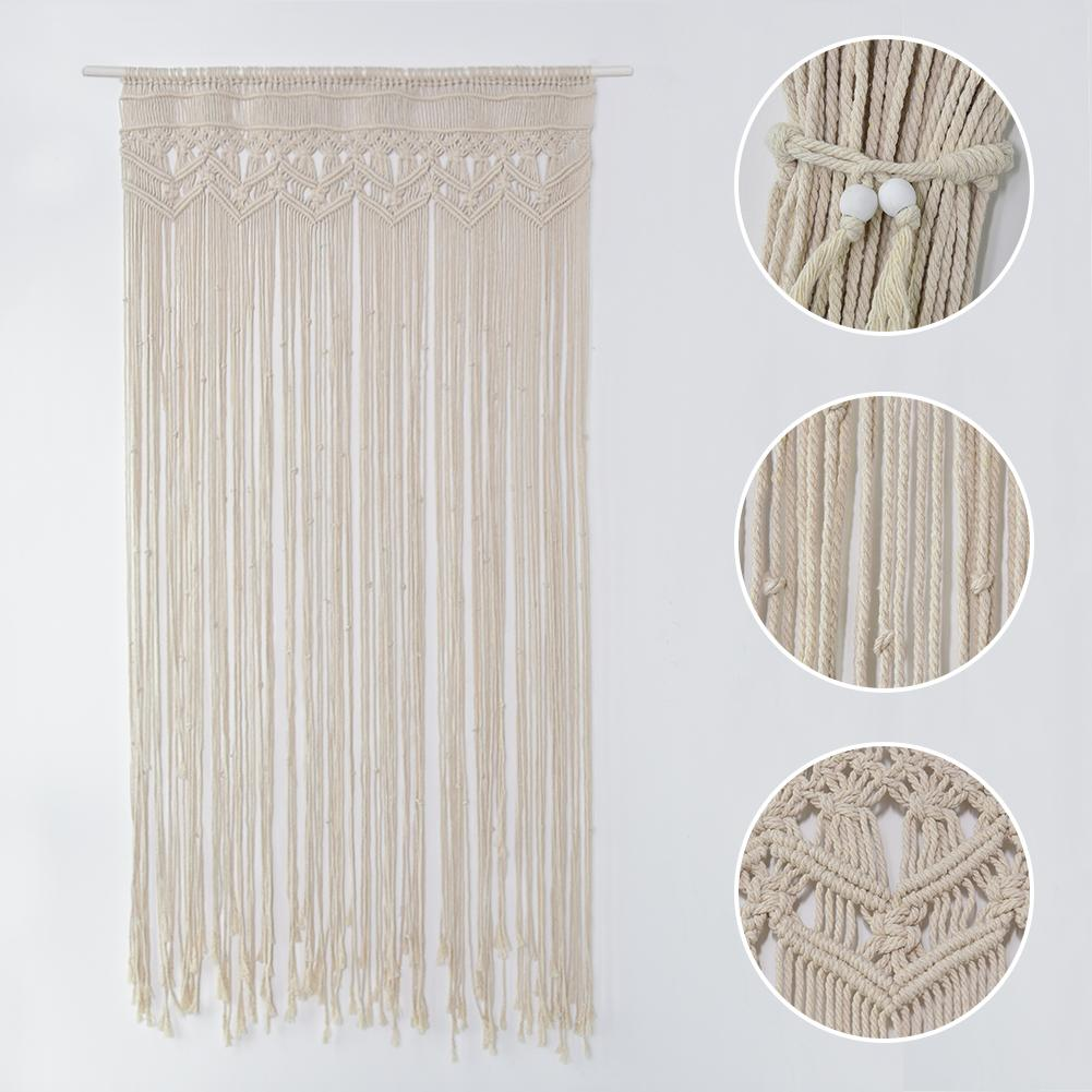 Hand-woven Tapestry Cotton Yarn Knitted Door Curtain Wedding Party Backdrop Decoration Background Decorative Door Curtain 30E