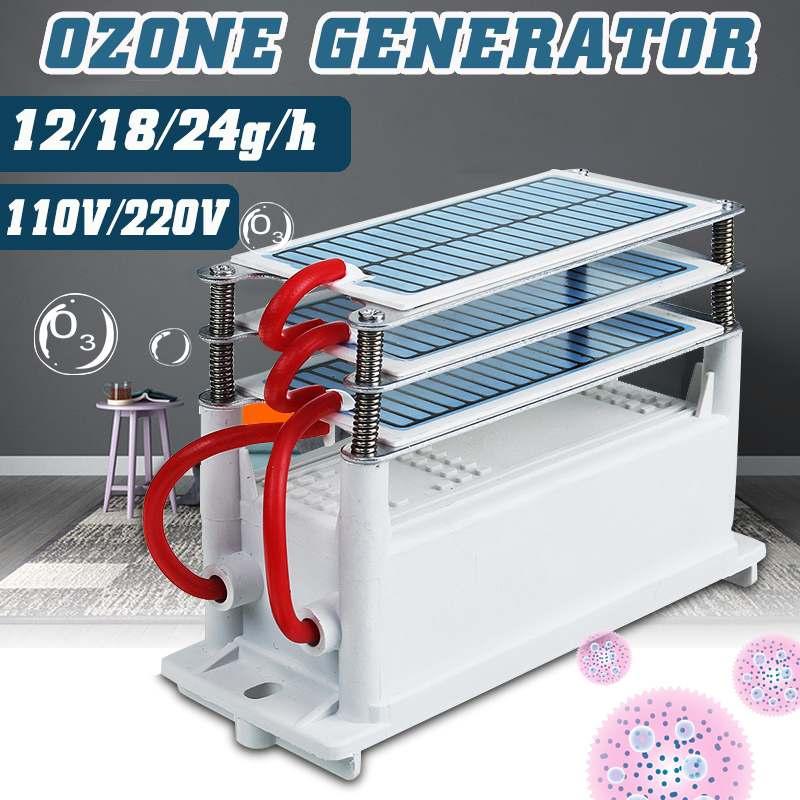 110V/220V 12/18/24g/h Ozone Generator Car Sterilization Chip Oxygen Disinfection Machine Air Purifier Formaldehyde Car Home Use