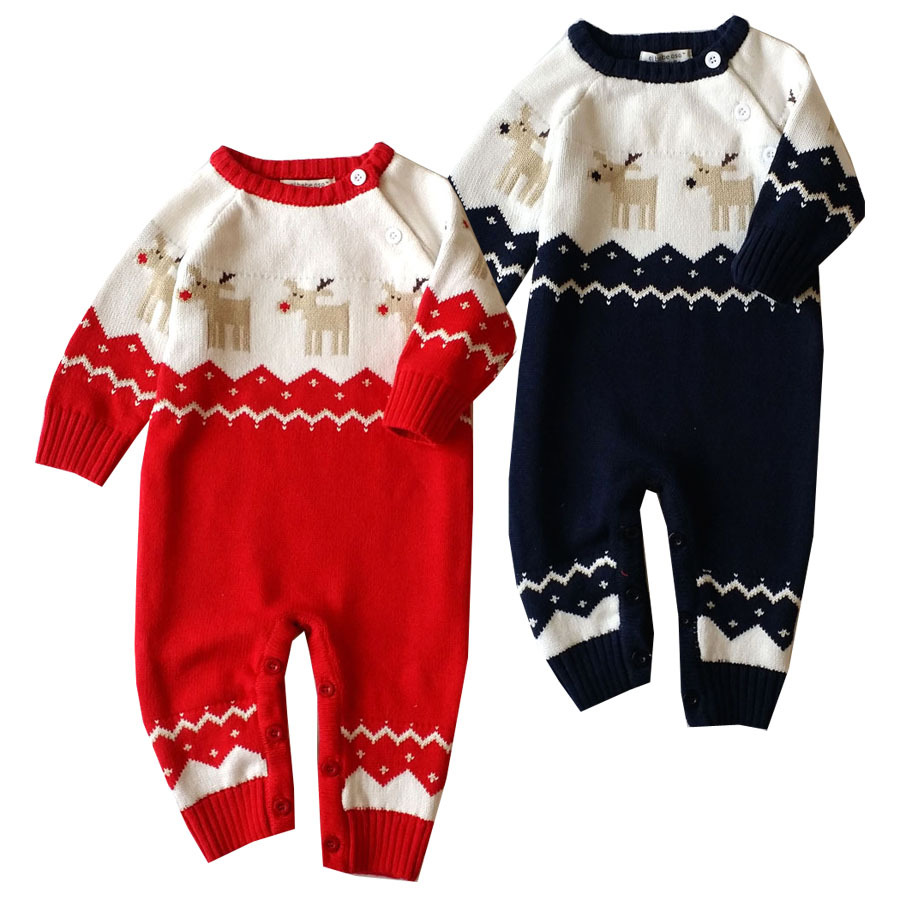 0-18M Fine knittingNewborn infant Christmas Deer Baby Boys Girls outfit Baby Rompers Kids Clothes Winter knitted sweater Rompers