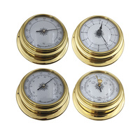 4Pcs Portable Wall Mounted Accurate Weather Station Set Boat Marine Meter Mini Thermometer Hygrometer 98mm Kit Barometer Clock